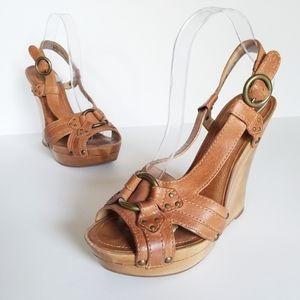 Frye June Slingback Wood Wedge Sandal 9.5